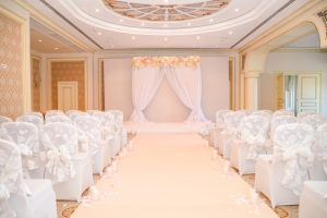 Modern-Wedding-Chapel-with-Draping-and-Flowers