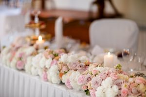 Reception tables beautifully decorated ready for wedding - Bride and Groom. Luxury concept